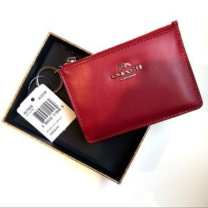 NWT Coach • Mini Skinny ID Wallet Case , Red